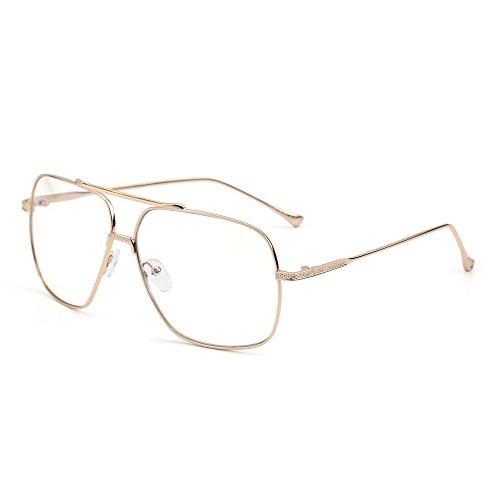 0e3485b744 Gafas de Sol Aviador Oversize Lente Claro Gradiente Piloto Metal Anteojos  Hombre Mujer Envio gratis