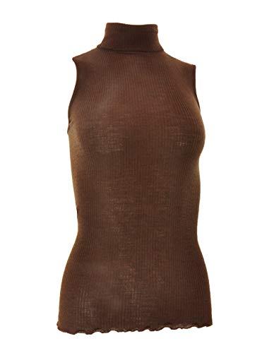 EGI Luxury Wool Silk Turtleneck Sleeveless Top. Proudly Made in Italy. (L/XL, Cioccolat)
