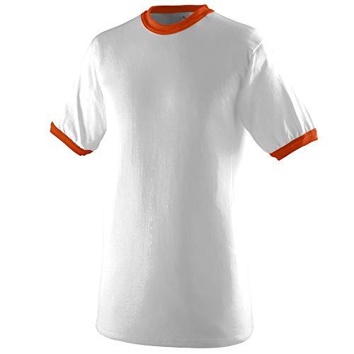 Augusta Sportswear Men's Ringer tee Shirt, White/Orange, Medium - Orange Ringer T-shirt