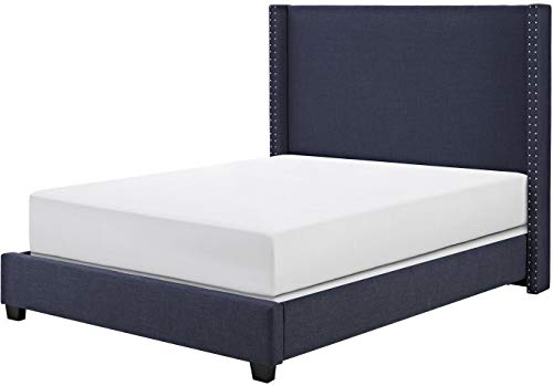 Crosley Furniture KF705006NV Casey Upholstered Platform Bed and Wingback Headboard, Queen, Navy Linen