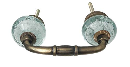 Aqua Blue Bubble Glass Knobs on Dark Brass Antique Handle, 3