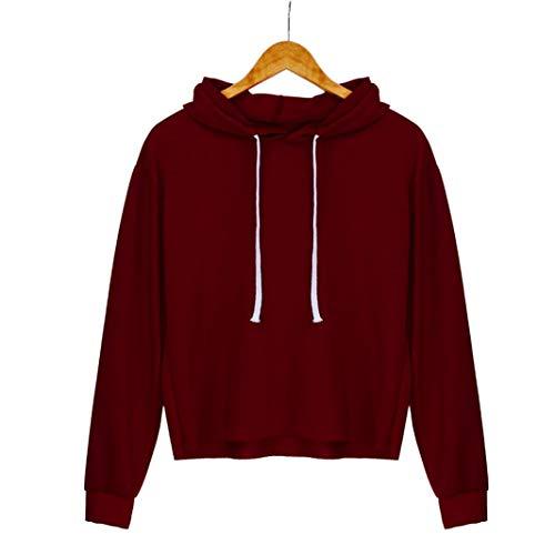 LisYOU Womens Long Sleeve Solid Hoodie Sweatshirt Hooded Pullover (XL,Red)