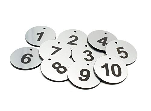 Acrylic Silver Tags - Circular, Silver Acrylic, Key Fobs, Key Tags, Key Rings, Numbered 1 to 10 - with Black Engraved Numbers, for Hotels, guesthouses, B&Bs, Corporate