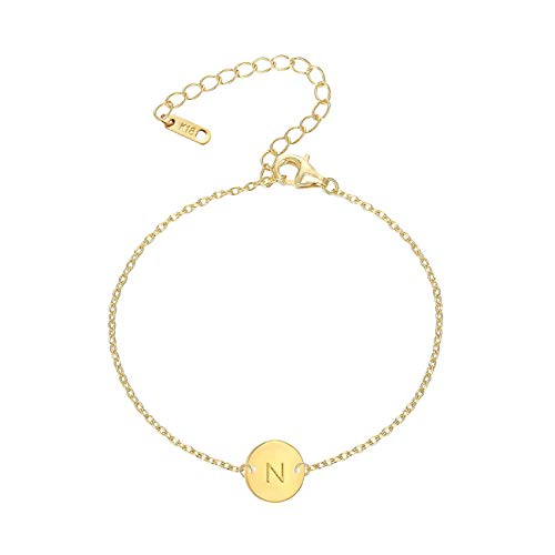 MOMOL Initial Charm Bracelets, 18K Gold Plated Stainless Steel Dainty Small Round Coin Disc Initial Bracelet Engraved Letter N Personalized Name Bracelet for Women Girls Kids (N)