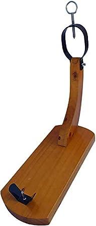 Jamonero Modelo Huelva o Góndola de Madera, ideal para uso doméstico, incluye barra salchichón cular, cubrejamón negro, cuchillo y chaira, soporte jamonero