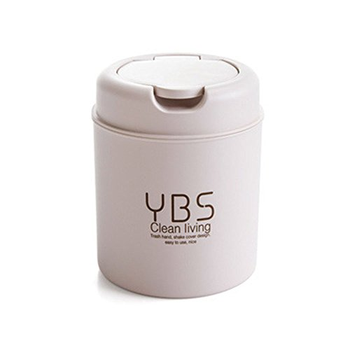 Office Kitchen Desk Mini Trash Can Small Plastic Garbage Can Food Waste Bin Pen Storage Recycle Box with Lid Bag Holder Organizer Purple Round Gathering Disposal Container Intake Cover Set (Beigh) (Diaper Pail Dekor)
