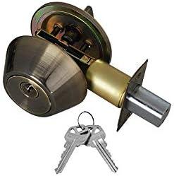 KW1 Keyway with 6 Keys Included Set of 1 Grip Tight Tools ED04 1 Door Knob /& Deadbolt Antique Brass Combo Entry Lock Set Door Knob and Single Cylinder Deadbolt Alike