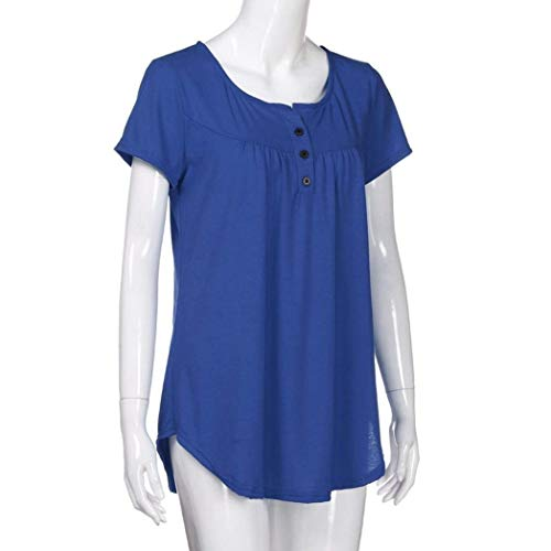 Estivi Stlie Camicetta Maglietta Shirt Elegante Corta Moda Rotondo Collo Manica Button Monocromo Blu di Irregular Grazioso T Tops Moda Donna Pieghe Casual qwRFXXI