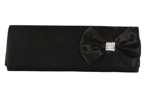Perfect Handbags - Sac à main pochette avec nœud et strasses - Satin - Noir