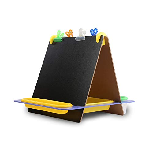 Papa & Mom Tabletop Easel Playset,Doug Double-Sided Magnetic Tabletop Art Easel - Dry-Erase Board and Chalkboard