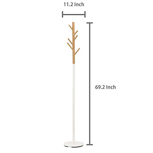 Modern Tree Branch Style Wood Coat Rack Stand w/ White Round Metal Base by MyGift (Image #3)