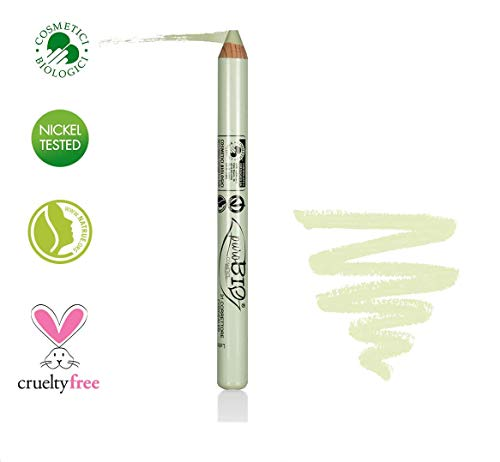 PuroBIO Certified Organic Multitasking Color Corrector Stick GREEN to cover Redness, Acne Marks, Scars with Vitamins, Soy and Apricot Oil. ORGANIC. VEGAN. NICKEL TESTED, MADE IN ITALY (Best Green Concealer For Acne)
