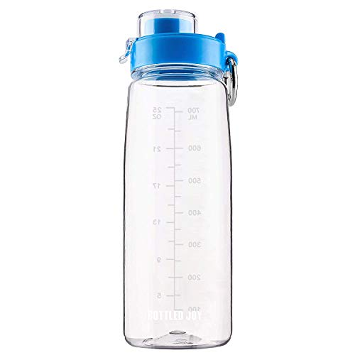 BOTTLED JOY Dishwasher Safe Water Bottle with Straw and Handle – 100% BPA-Free Tritan Lightweight Wide Mouth Sports Bottle for Outdoor Hiking Camping Fitness 27oz 800ml (Clear with Flip-top)