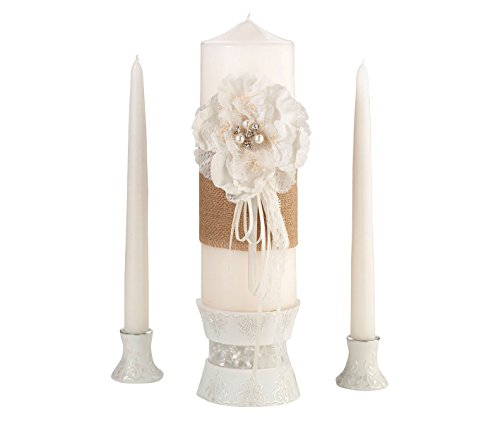 (Lillian Rose Rustic Burlap Lace Wedding Unity Candle Set)