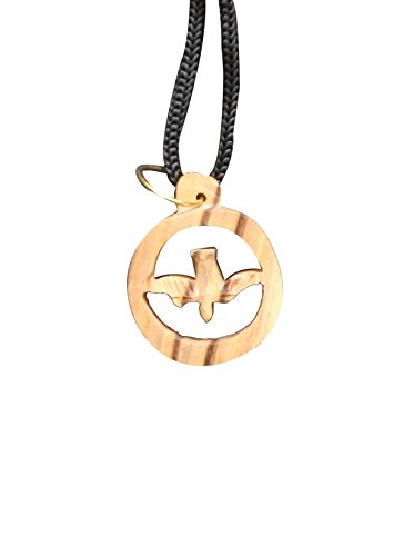 Earthwood Olive Wood P-19 Dove in Circle Pendant