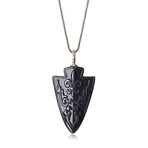 COAI Sweater Chain Arrowhead Amulet Fleur De Lis Obsidian Pendant Necklace ()