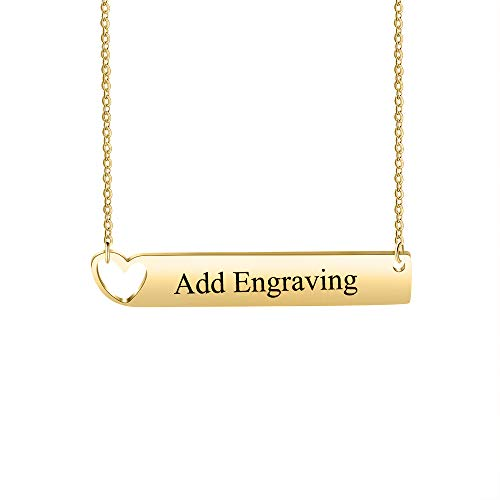 OPALSTOCK Personalized Bar Necklace Engraved Name Necklace BFF Necklaces for Wedding Bridesmaid Necklace (Gold with Heart)