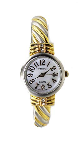 (Women's Rhinestone Bangle Cuff Watch (Two Tone))