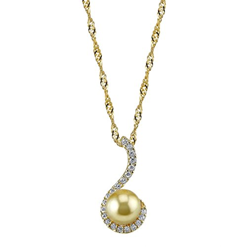 THE PEARL SOURCE 10-11mm Genuine Golden South Sea Cultured Pearl Swirl Pendant Necklace for Women 11mm Golden South Sea Pearl