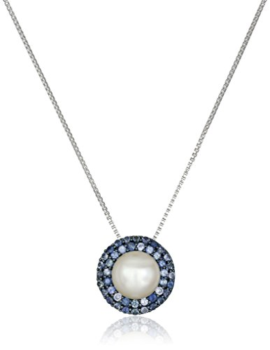 Andin Sterling Silver Freshwater Cultured Pearl with Sapp...