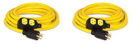 Champion 25-Foot 30-Amp 125/250-Volt Duplex-Style Generator Extension Cord (L14-30P to four 5-20R) (2-(Pack))