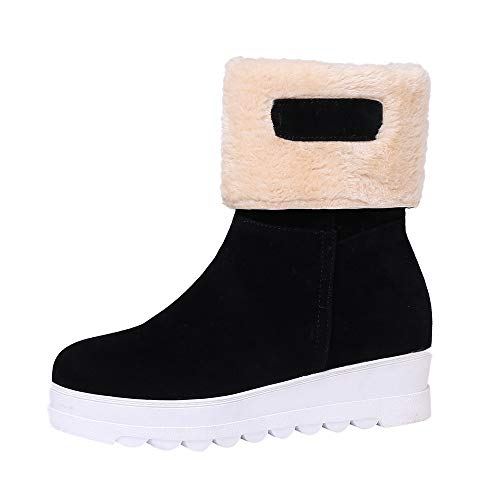 - HYIRI New Classic Winter Keep Warm Slip-On Shoes,Women Suede Round Toe Wedges Shoes Plush Snow Boots Black