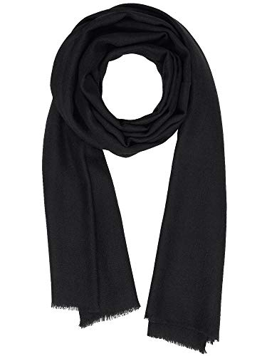 Cashmere Feel Wool Silk Blend Scarf Unisex Pashmina Men's Women's Shawl Black -