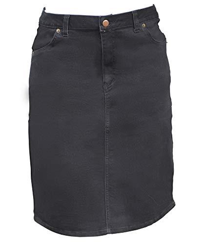 Kosher Casual Women's Modest Knee Length Stretch Denim Pencil Skirt No Slits Large Stonewashed Black/Black Stitching