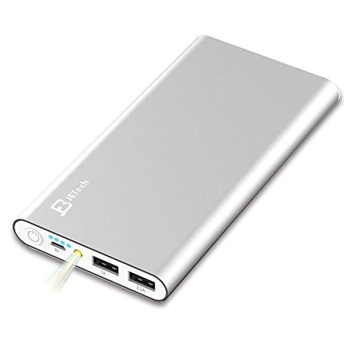 JETech 10,000mAh Portable External Power Bank, Battery Charger, 2-Output (Silver)