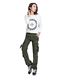 Lixmee Women Casual Multiple Pockets Outdoor Straight Cargo Pants