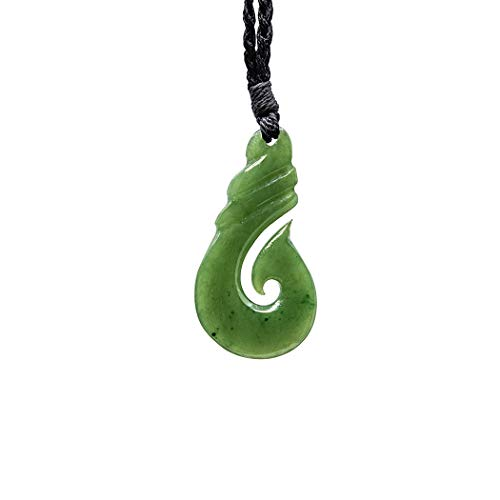 Maori Green Stone - Earthbound Pacific Hand Carved Stylized Maori Green Jade Traditional Fish Hook Necklace (40mm)