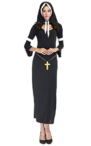 Sinastar Halloween Women Catholicism Nun Cosplay Costume Dress-up Party Ball Sexy Uniforms Temptation (High Priest Costume For Sale)