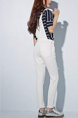 In Le Jeans Tute White Strappati Alto Donne Yulinge Rompers ETwqHq