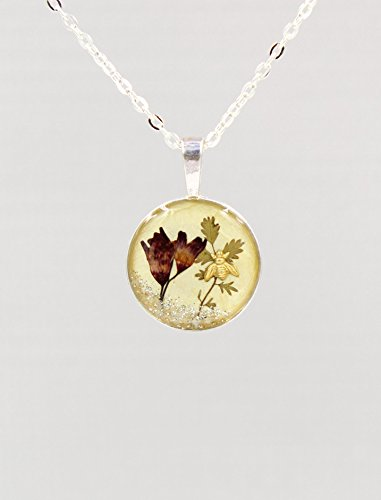 Real Red Coral Bell Flower Resin Terrarium Necklace with Bee and Silver-Tone Chain