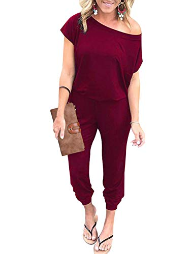 - Adibosy Women Summer Off Shoulder Jumpsuits Elastic Waist Beam Foot Onepiece Pants Rompers with Pockets Long Wine Red M