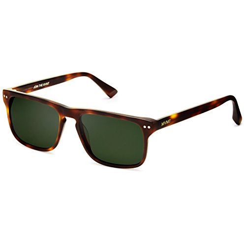 (MVMT Reveler | Polarized Rectangular Men's Sunglasses | Matte Whiskey Tortoise | 57)