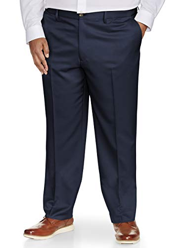 (Amazon Essentials Men's Big & Tall Classic-Fit Wrinkle-Resistant Flat-Front Dress Pant, Navy, 44W x 30L)