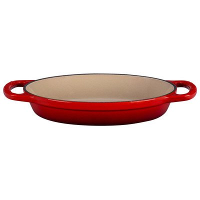 Le Creuset Enamel Cast Iron Signature Oval Baker, 3 quart, Cerise (Cherry Red)