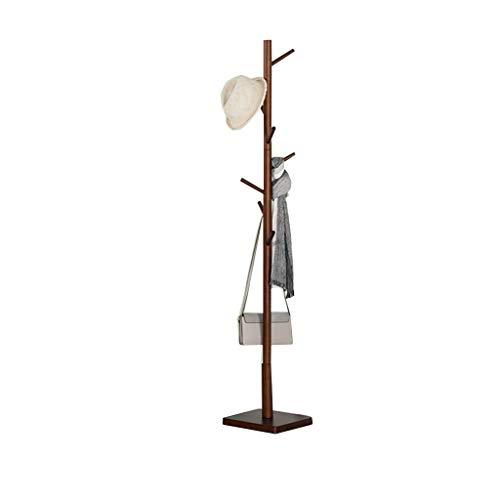 (COAT RACK Floor Solid Wood 8 Large Hanging Column Square Chassis Single Pole Hanger (Color : Brass))