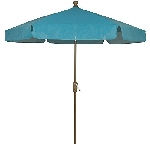 FiberBuilt Umbrellas Garden Umbrella, 7.5 Foot Teal Canopy and Champagne Bronze Pole (Fiberbuilt Umbrella Beach)