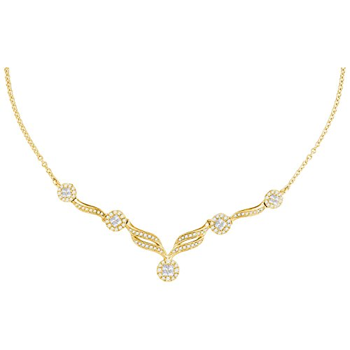 Roy Rose Jewelry 14K Yellow Gold Womens Princess Diamond Soleil Cluster Luxury 18