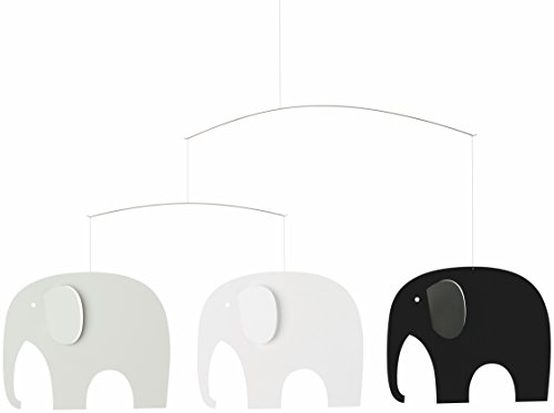 Elephant Party Black Hanging Nursery Mobile – 25 Inches Plastic – Handmade in Denmark by Flensted