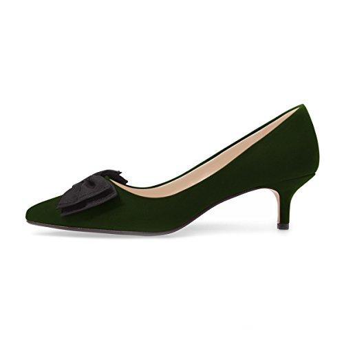 Scarpe Donna Xyd Casual In Pelle Scamosciata A Punta Gattino Tacco Basso Slip On Dress Pumps Scarpe Con Fiocchi Verde Scuro