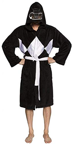 Power Rangers Men's Mighty Morphin Robe, Black, One Size