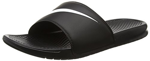 NIKE BENASSI SWOOSH SLIDE SANDALS 15 Men US (BLACK/WHITE)