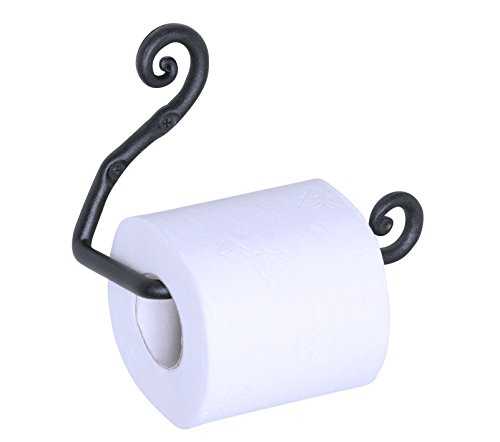 Wrought Iron Swirl Toilet Paper Roll Holder | Handmade Black TP Roll Hanger | by RTZEN-Décor | Wall Mount Easy Installation ()