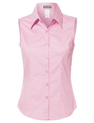 LE3NO Womens Lightweight Cotton Sleeveless Button Down Shirt Babypink