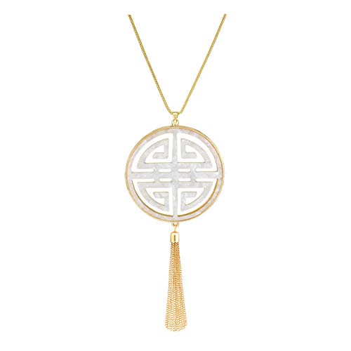 - VUJANTIRY Statement Long Necklace for Women Oriental Celtic Four Blessing Good Luck Fringe Tassel Pendant Necklace Hollowed Resin Disc Necklace Lucite Tortoise Shell Necklace (White)