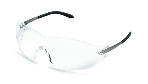 MCR Safety S2110AF Blackjack Safety Glasses with Chrome Metal Temple and Clear, Anti-Fog Lens
