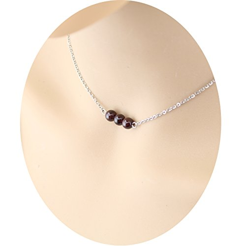 Three Garnet Gemstone Choker Necklace - Silver Filled Stainless Steel 3 Wedding Garnet Beads Fashion Collar Choker Necklace Minimalist Tiny Birthstone Handmade Wedding Garnet Choker for Girls Chokers Garnet Pendants